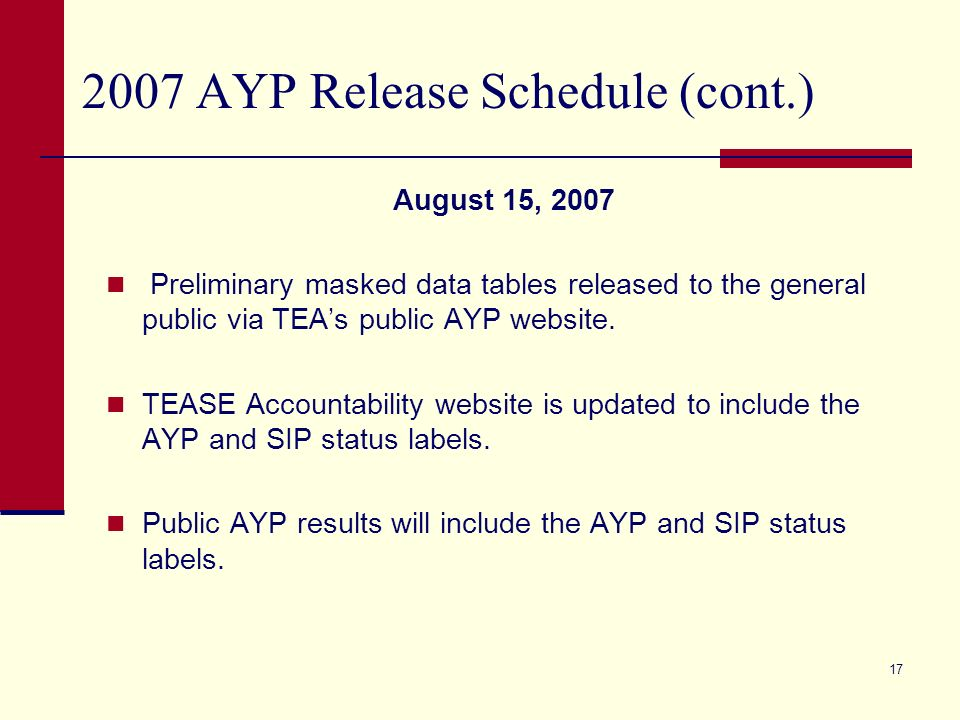 16 2007 AYP Release Schedule (cont.) August 8, 2007 (continued) Data tables will not include the AYP or SIP label.