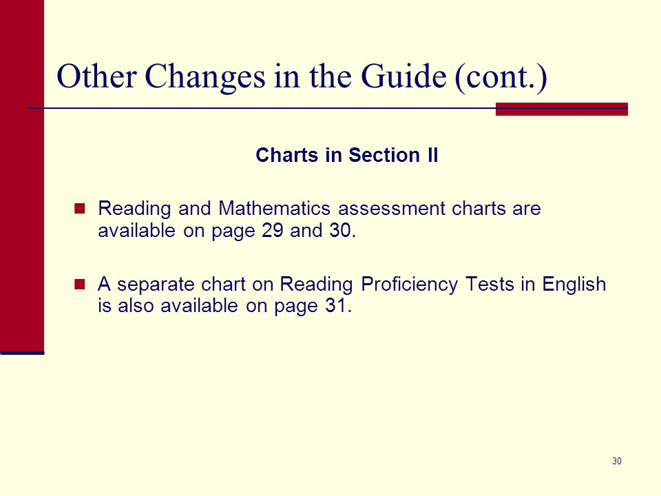 29 Other Changes in the Guide a. Charts in Section II: Indicators provide summary of 2007 changes b. Appeals section provides detail on Other Indicato
