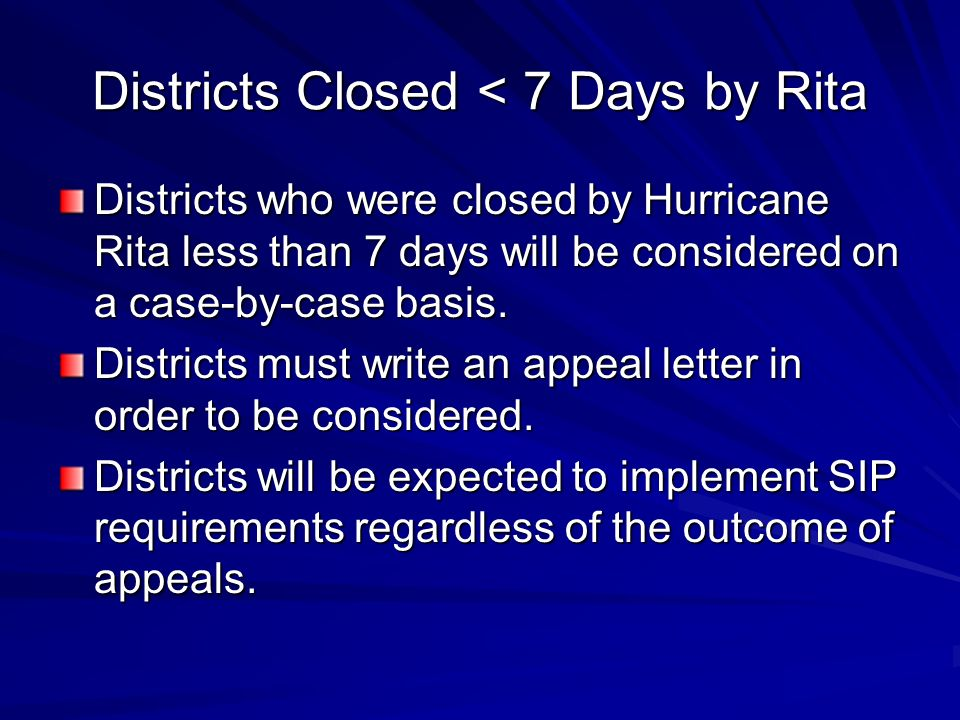 Districts Closed < 7 Days by Rita Districts who were closed by Hurricane Rita less than 7 days will be considered on a case-by-case basis.