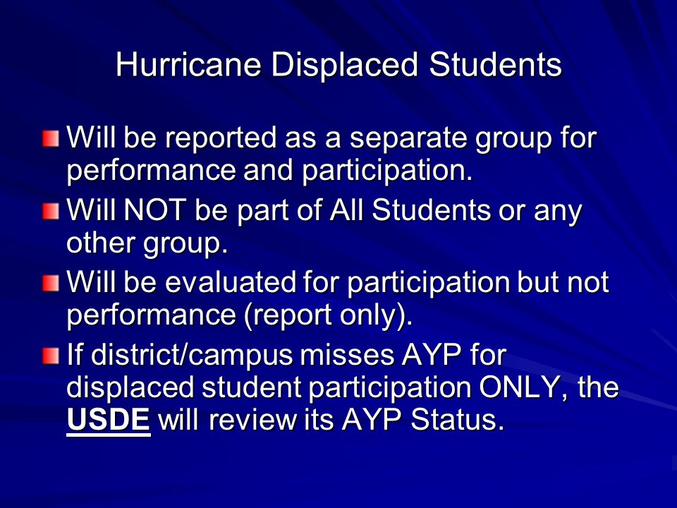 Hurricane Displaced Students Will be reported as a separate group for performance and participation. Will NOT be part of All Students or any other gro
