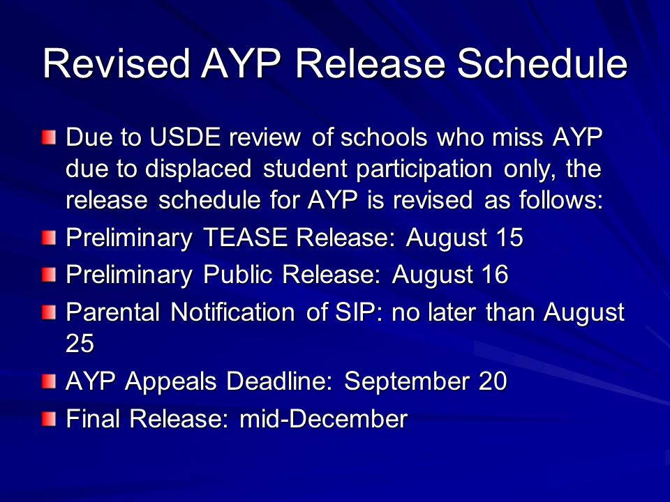 Revised AYP Release Schedule Due to USDE review of schools who miss AYP due to displaced student participation only, the release schedule for AYP is revised as follows: Preliminary TEASE Release: August 15 Preliminary Public Release: August 16 Parental Notification of SIP: no later than August 25 AYP Appeals Deadline: September 20 Final Release: mid-December
