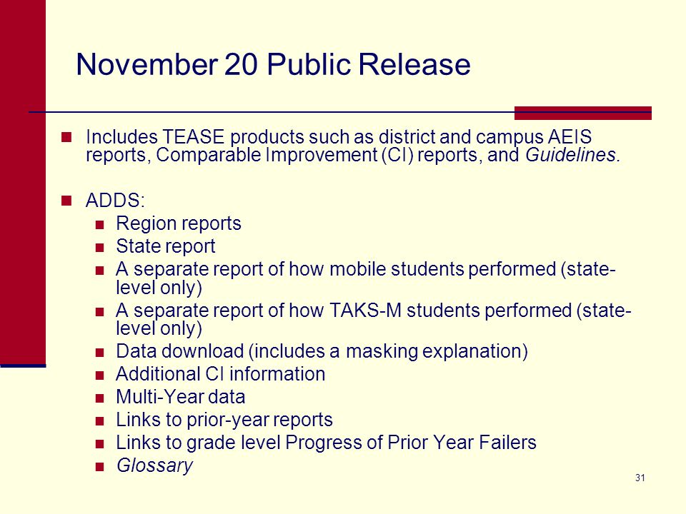 31 November 20 Public Release Includes TEASE products such as district and campus AEIS reports, Comparable Improvement (CI) reports, and Guidelines.