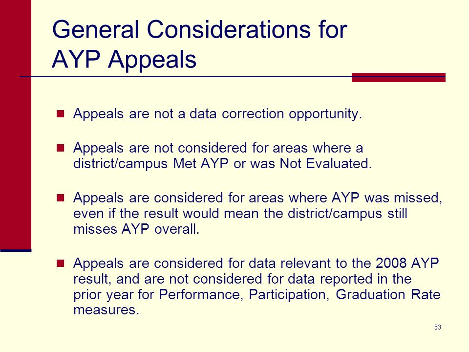 53 General Considerations for AYP Appeals Appeals are not a data correction opportunity.