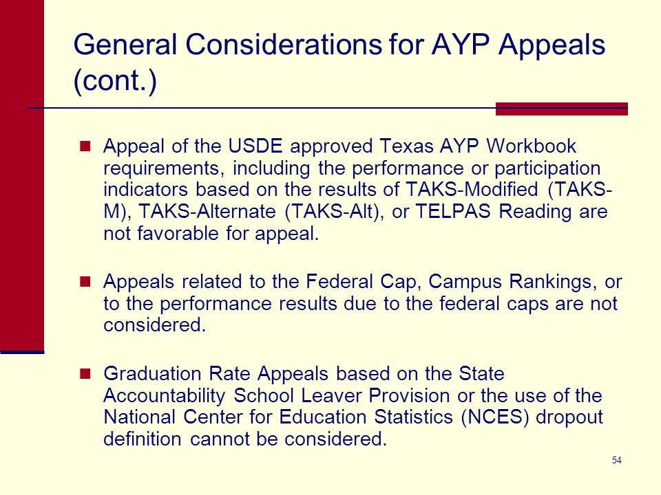 54 General Considerations for AYP Appeals (cont.) Appeal of the USDE approved Texas AYP Workbook requirements, including the performance or participation indicators based on the results of TAKS-Modified (TAKS- M), TAKS-Alternate (TAKS-Alt), or TELPAS Reading are not favorable for appeal.