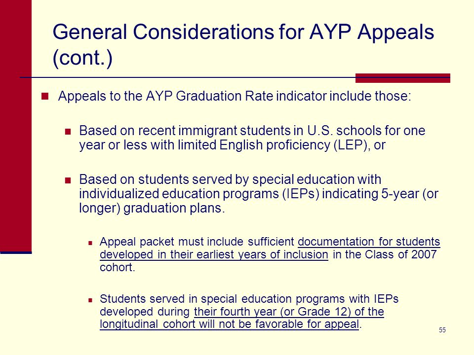 55 General Considerations for AYP Appeals (cont.) Appeals to the AYP Graduation Rate indicator include those: Based on recent immigrant students in U.S.