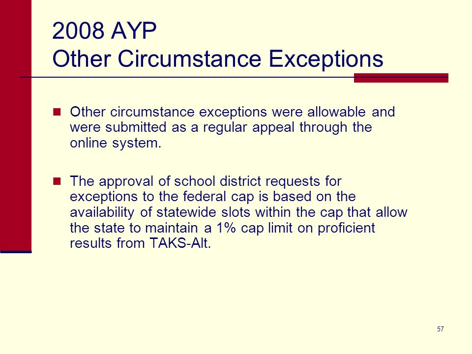 57 2008 AYP Other Circumstance Exceptions Other circumstance exceptions were allowable and were submitted as a regular appeal through the online system.