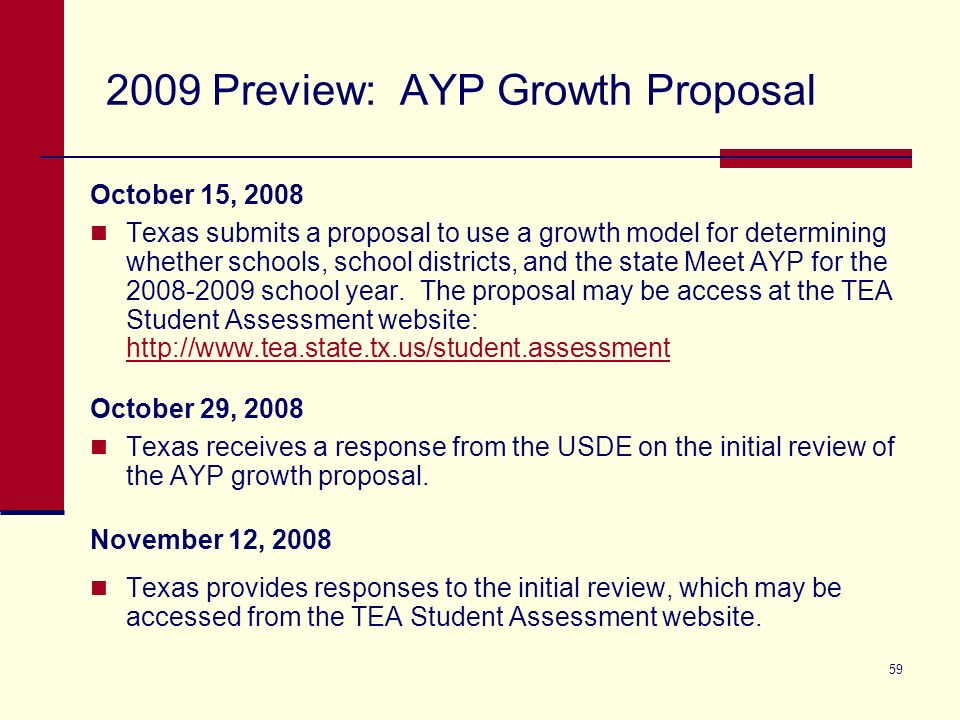 59 2009 Preview: AYP Growth Proposal October 15, 2008 Texas submits a proposal to use a growth model for determining whether schools, school districts, and the state Meet AYP for the 2008-2009 school year.