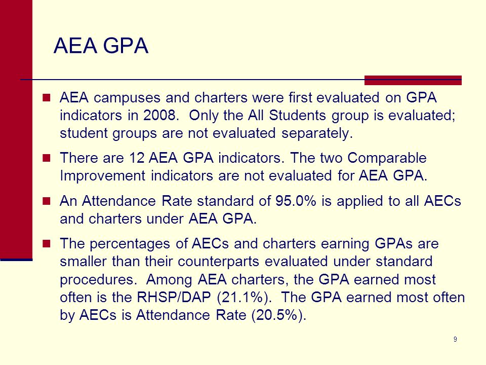 9 AEA GPA AEA campuses and charters were first evaluated on GPA indicators in 2008.