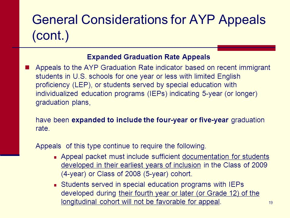 19 General Considerations for AYP Appeals (cont.) Expanded Graduation Rate Appeals Appeals to the AYP Graduation Rate indicator based on recent immigrant students in U.S.