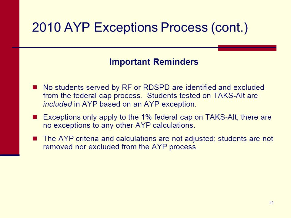 21 2010 AYP Exceptions Process (cont.) Important Reminders No students served by RF or RDSPD are identified and excluded from the federal cap process.