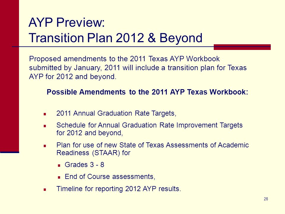 28 Proposed amendments to the 2011 Texas AYP Workbook submitted by January, 2011 will include a transition plan for Texas AYP for 2012 and beyond.