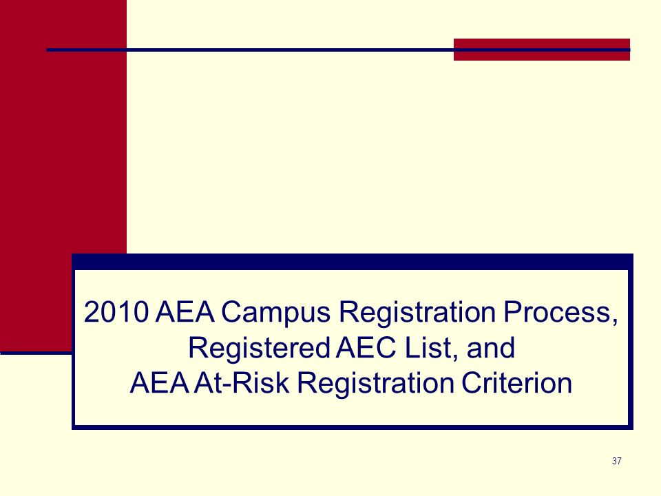 37 2010 AEA Campus Registration Process, Registered AEC List, and AEA At-Risk Registration Criterion