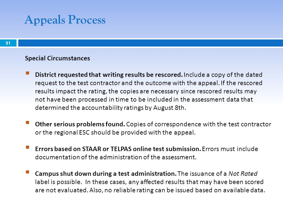 21 Appeals Process Special Circumstances District requested that writing results be rescored.