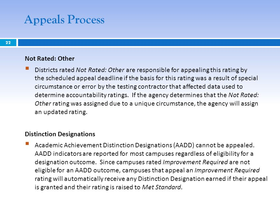 22 Appeals Process Not Rated: Other Districts rated Not Rated: Other are responsible for appealing this rating by the scheduled appeal deadline if the