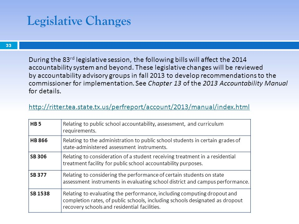 33 Legislative Changes During the 83 rd legislative session, the following bills will affect the 2014 accountability system and beyond.