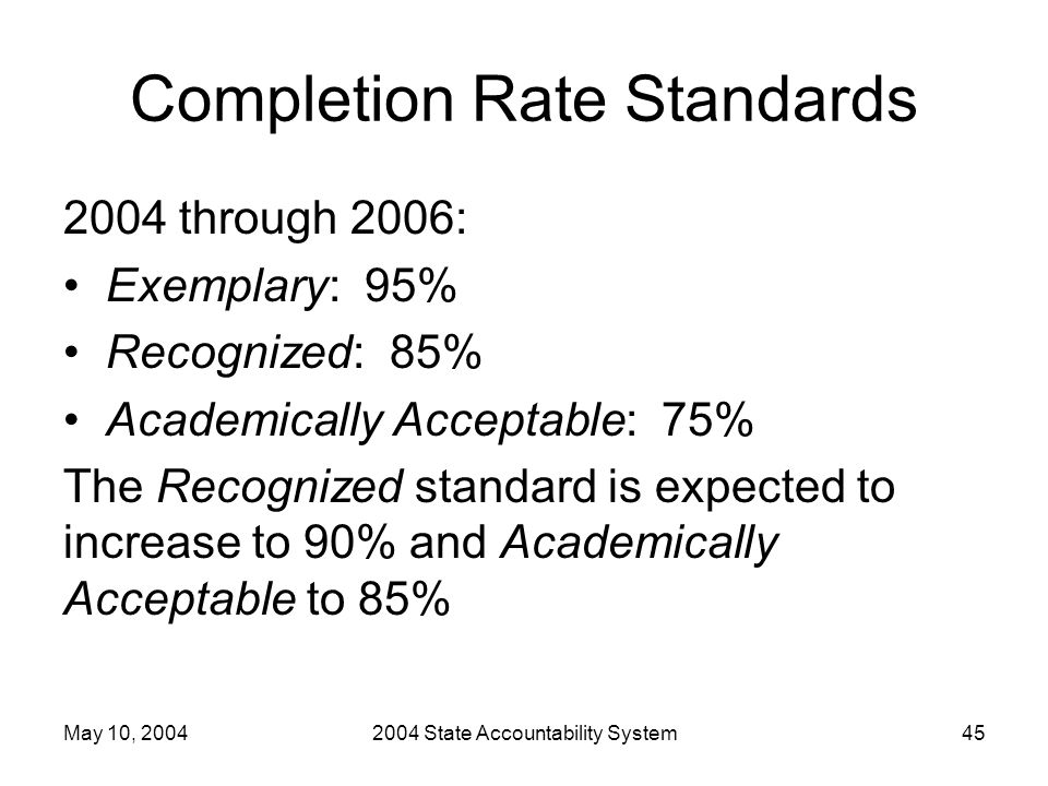 May 10, 20042004 State Accountability System45 Completion Rate Standards 2004 through 2006: Exemplary: 95% Recognized: 85% Academically Acceptable: 75% The Recognized standard is expected to increase to 90% and Academically Acceptable to 85%