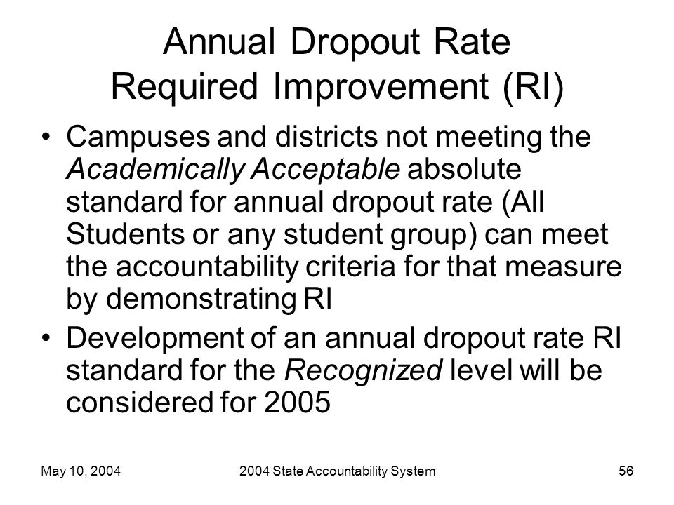 May 10, 20042004 State Accountability System56 Annual Dropout Rate Required Improvement (RI) Campuses and districts not meeting the Academically Accep