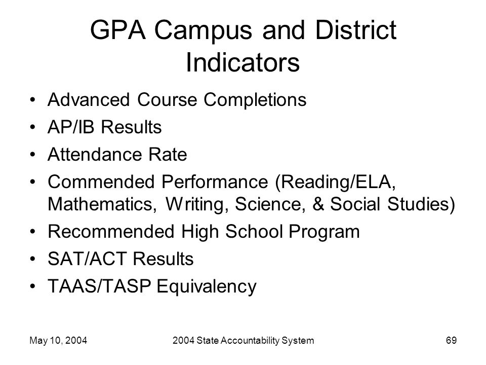 May 10, 20042004 State Accountability System69 GPA Campus and District Indicators Advanced Course Completions AP/IB Results Attendance Rate Commended