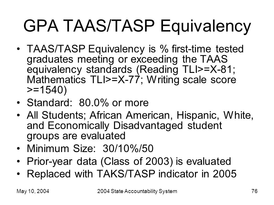 May 10, 20042004 State Accountability System76 GPA TAAS/TASP Equivalency TAAS/TASP Equivalency is % first-time tested graduates meeting or exceeding t