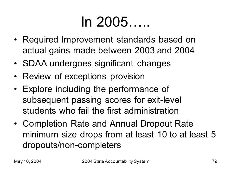 May 10, 20042004 State Accountability System79 In 2005…..