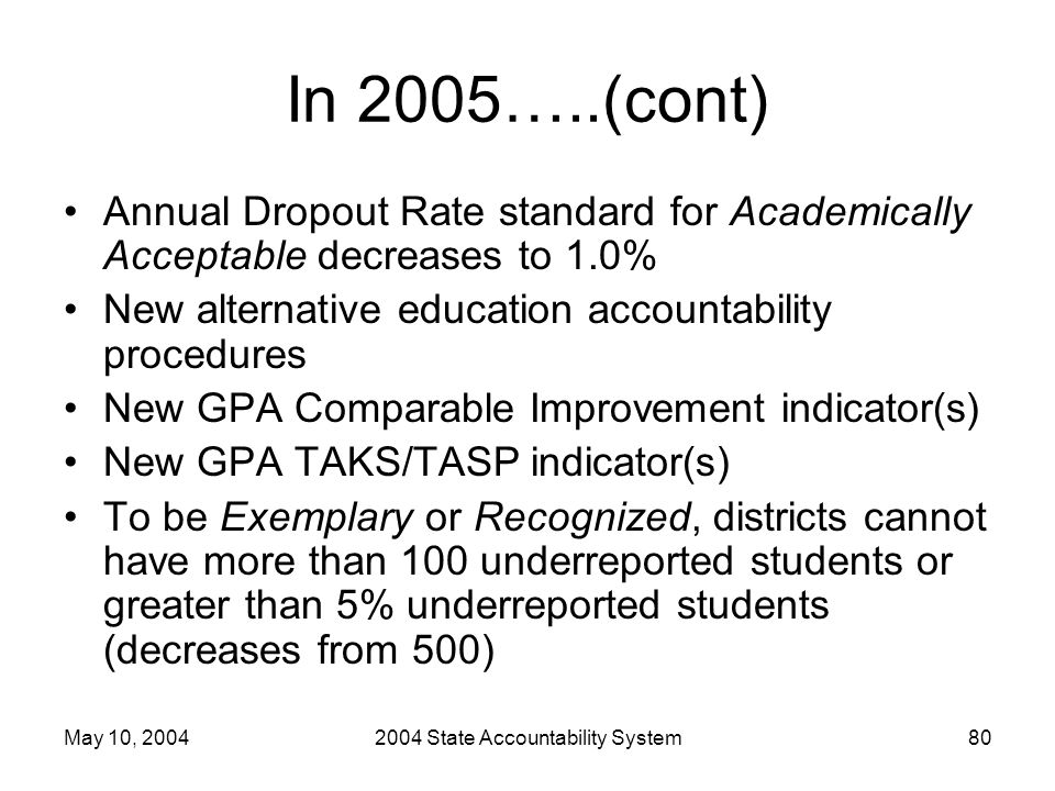 May 10, 20042004 State Accountability System80 In 2005…..(cont) Annual Dropout Rate standard for Academically Acceptable decreases to 1.0% New alterna