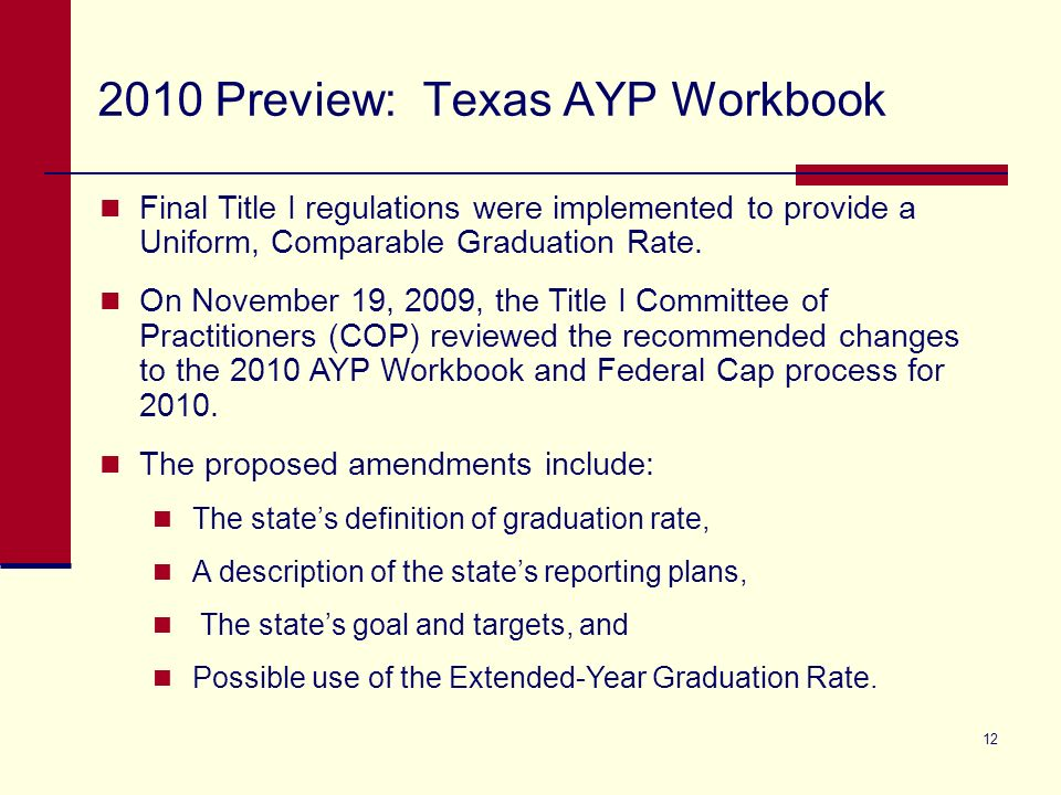 12 2010 Preview: Texas AYP Workbook Final Title I regulations were implemented to provide a Uniform, Comparable Graduation Rate.