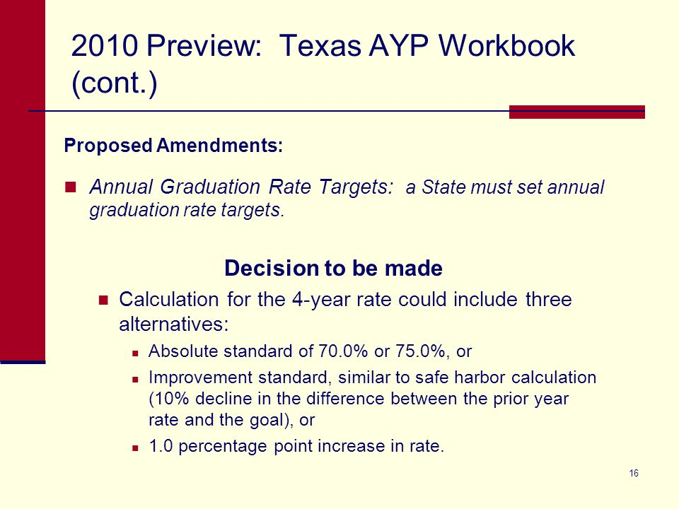 16 2010 Preview: Texas AYP Workbook (cont.) Proposed Amendments: Annual Graduation Rate Targets: a State must set annual graduation rate targets. Deci