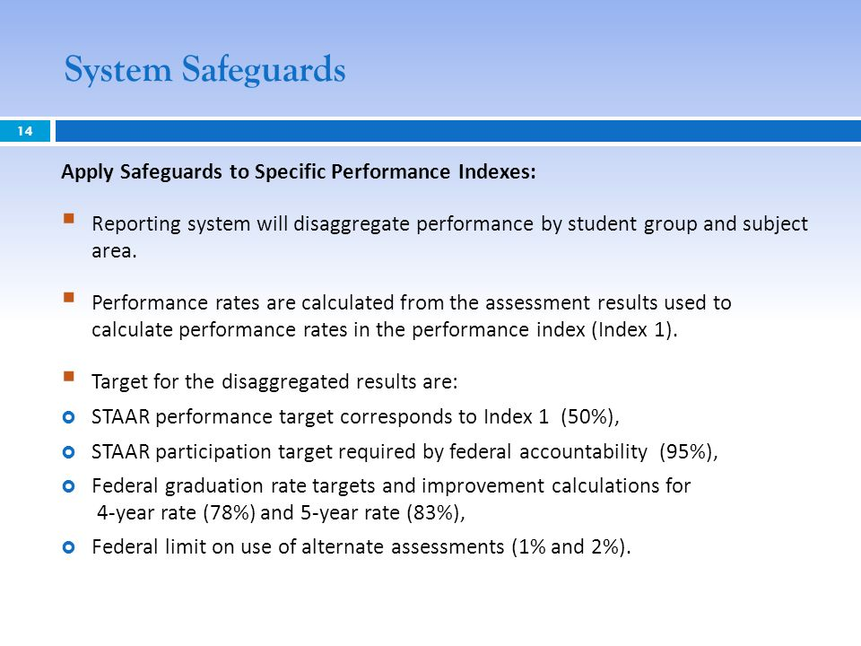 System Safeguards 14 Apply Safeguards to Specific Performance Indexes: Reporting system will disaggregate performance by student group and subject are
