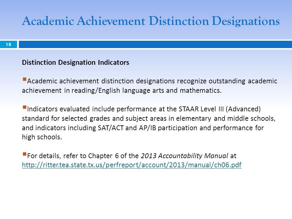 18 Distinction Designation Indicators Academic achievement distinction designations recognize outstanding academic achievement in reading/English language arts and mathematics.