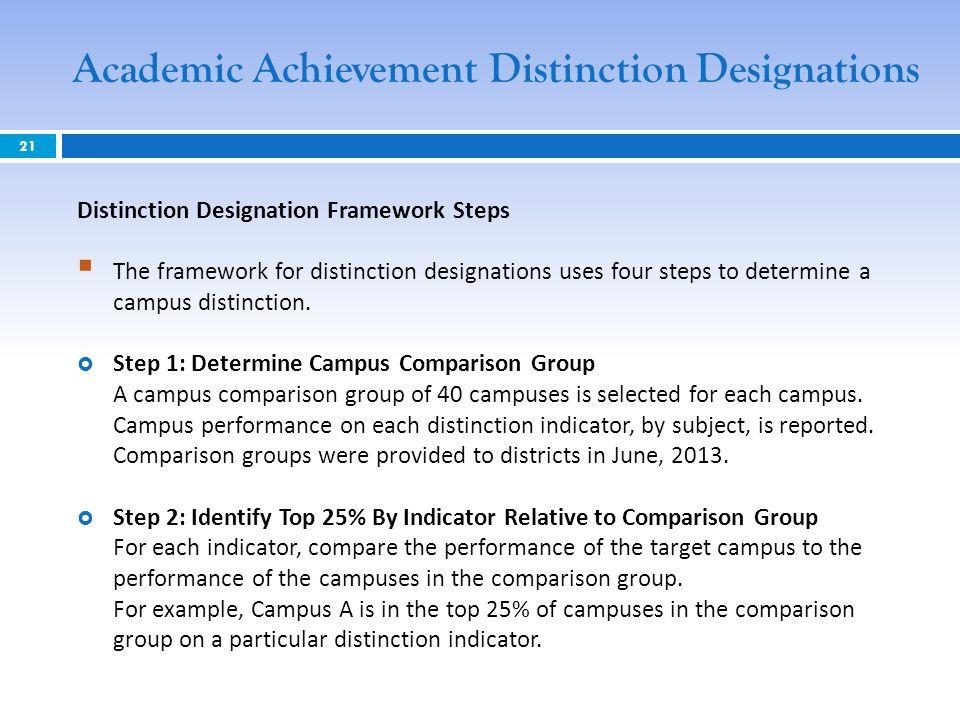 Distinction Designation Framework Steps The framework for distinction designations uses four steps to determine a campus distinction. Step 1: Determin