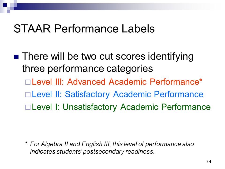 11 STAAR Performance Labels There will be two cut scores identifying three performance categories Level III: Advanced Academic Performance* Level II: Satisfactory Academic Performance Level I: Unsatisfactory Academic Performance *For Algebra II and English III, this level of performance also indicates students postsecondary readiness.