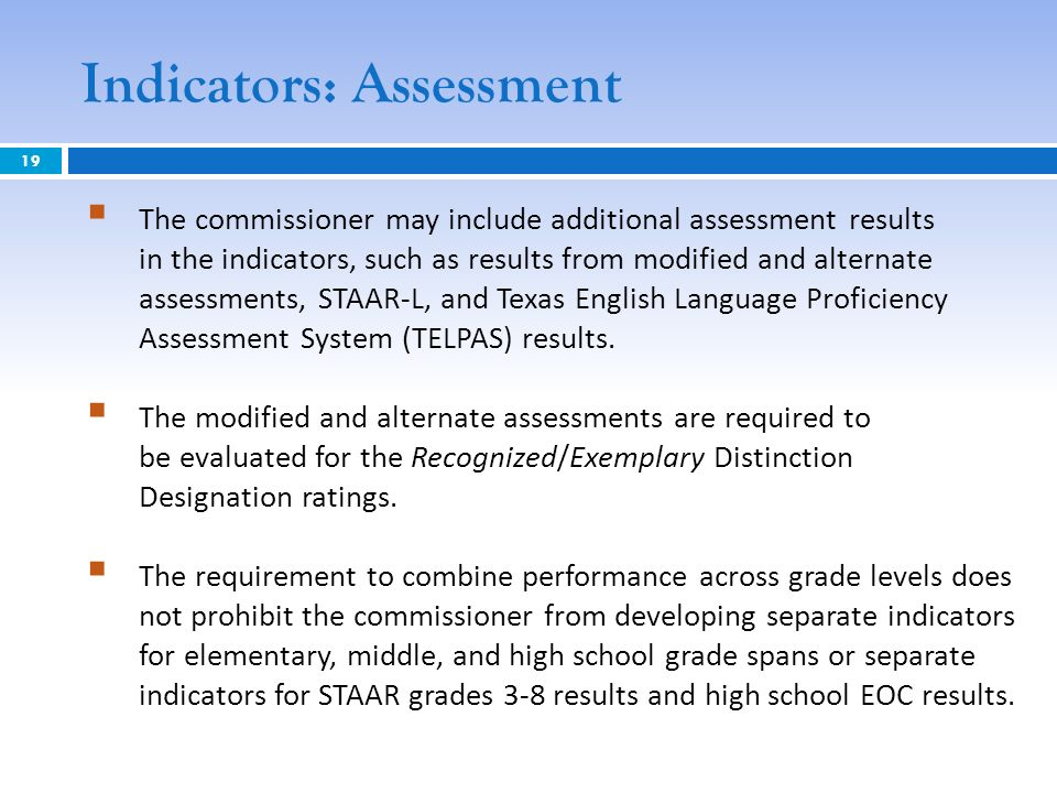 Indicators: Assessment The commissioner may include additional assessment results in the indicators, such as results from modified and alternate asses