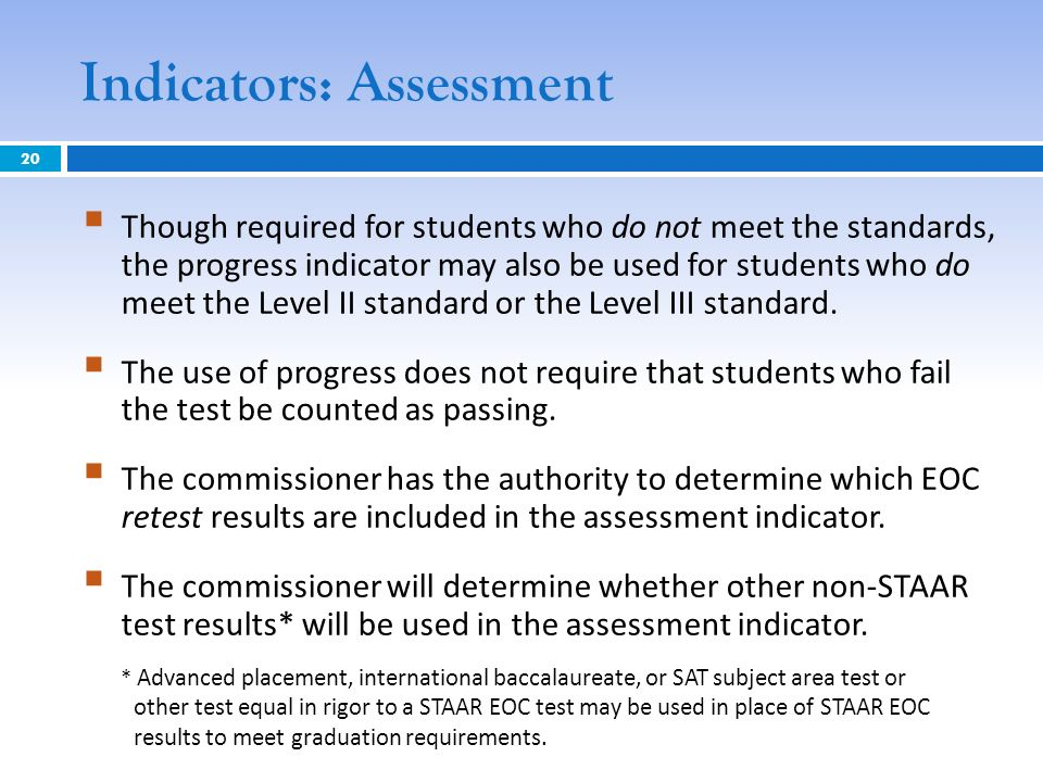 Indicators: Assessment Though required for students who do not meet the standards, the progress indicator may also be used for students who do meet th