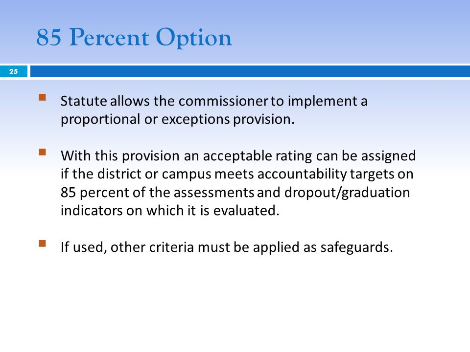 85 Percent Option Statute allows the commissioner to implement a proportional or exceptions provision. With this provision an acceptable rating can be