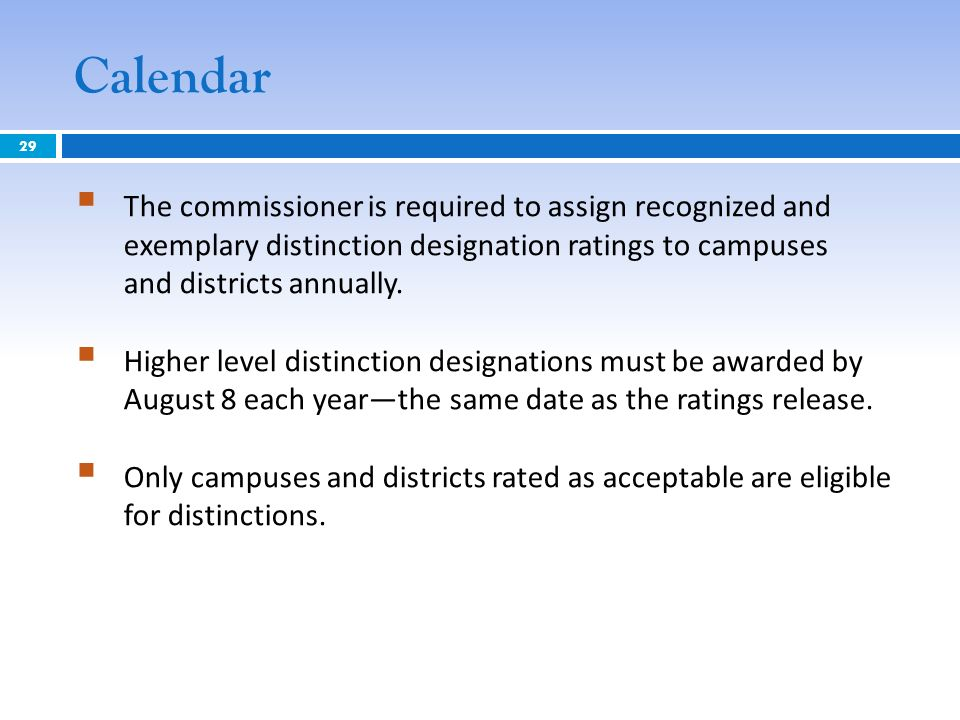 Calendar The commissioner is required to assign recognized and exemplary distinction designation ratings to campuses and districts annually. Higher le