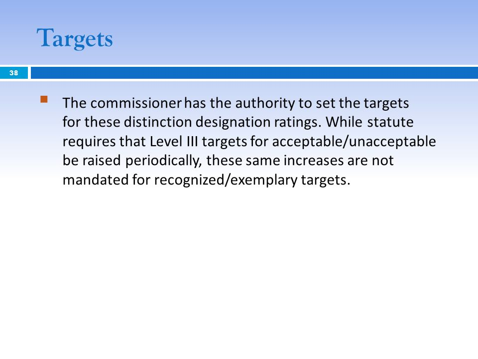Targets The commissioner has the authority to set the targets for these distinction designation ratings. While statute requires that Level III targets
