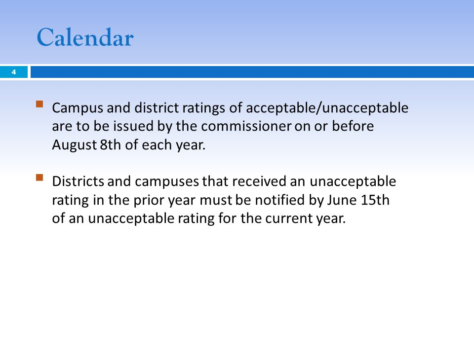 Calendar Campus and district ratings of acceptable/unacceptable are to be issued by the commissioner on or before August 8th of each year. Districts a