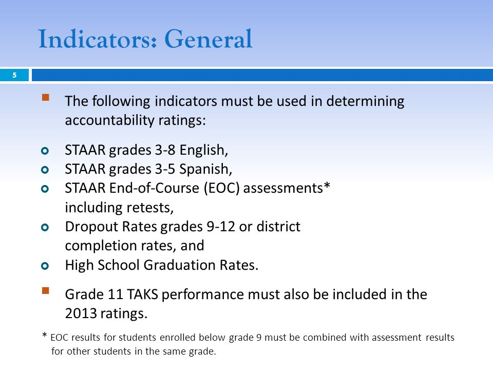 Indicators: General The following indicators must be used in determining accountability ratings: STAAR grades 3-8 English, STAAR grades 3-5 Spanish, S