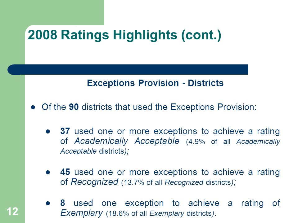 Ratings Highlights (cont.) Exceptions Provision - Districts Of the 90 districts that used the Exceptions Provision: 37 used one or more exceptions to achieve a rating of Academically Acceptable (4.9% of all Academically Acceptable districts) ; 45 used one or more exceptions to achieve a rating of Recognized (13.7% of all Recognized districts) ; 8 used one exception to achieve a rating of Exemplary (18.6% of all Exemplary districts).