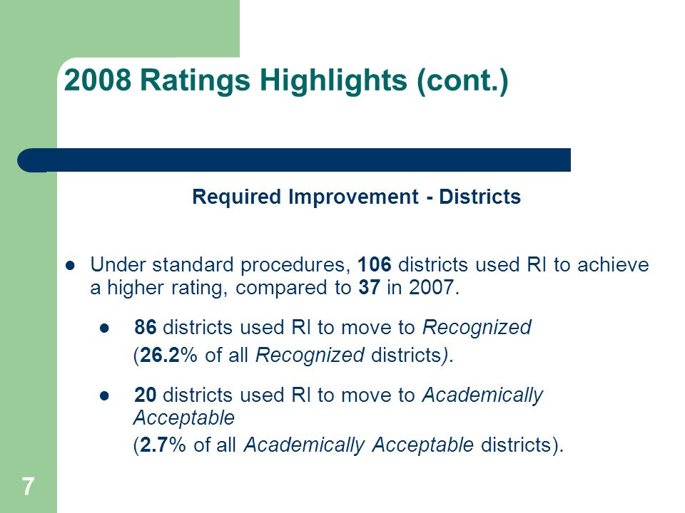 28 Standard Accountability Decisions for 2009 and Beyond (cont.) Hurricane Ike Provision Consider options for districts that were directly affected by Hurricane Ike similar to the Hurricane Rita provision during the 2005-06 school year.