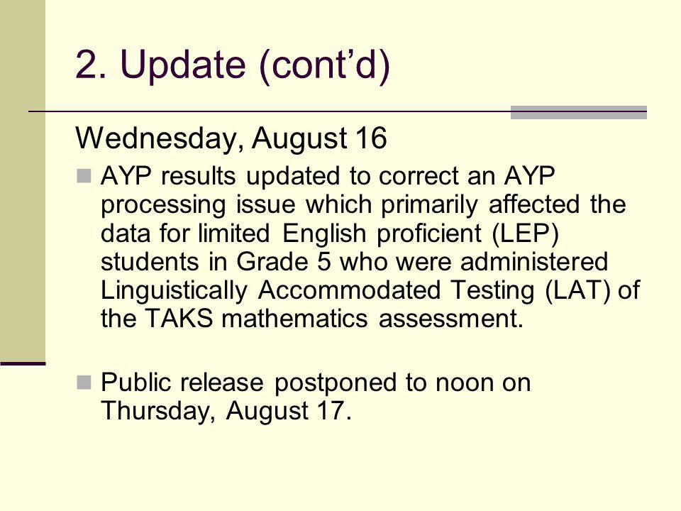2. Update (contd) Wednesday, August 16 AYP results updated to correct an AYP processing issue which primarily affected the data for limited English pr