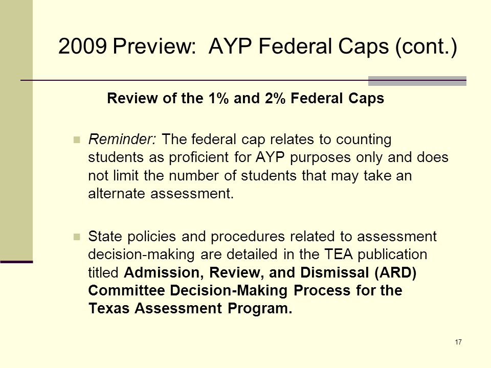 18 2009 Preview: AYP Growth Proposal October 15, 2008 Texas submits a proposal to use a growth model for determining whether schools, school districts, and the state Meet AYP for the 2008-2009 school year.