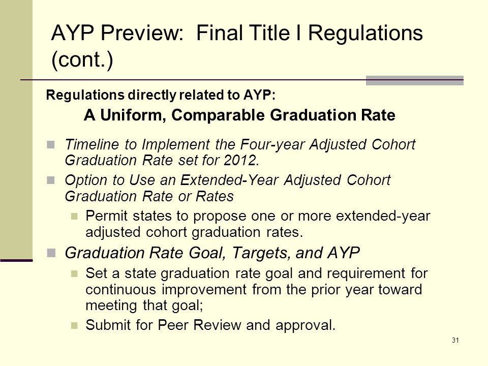 32 AYP Preview: Final Title I Regulations (cont.) Regulations directly related to AYP: A Uniform, Comparable Graduation Rate Disaggregating Graduation Rate Data Report the four-year adjusted cohort graduation rate or a transitional graduation rate reported for school, district, and state levels by student groups prior to school year 2010–11; States report the four-year adjusted cohort graduation rate by the 2010–11 school year; and Use the cohort graduation rate by student group in 2012 AYP results.