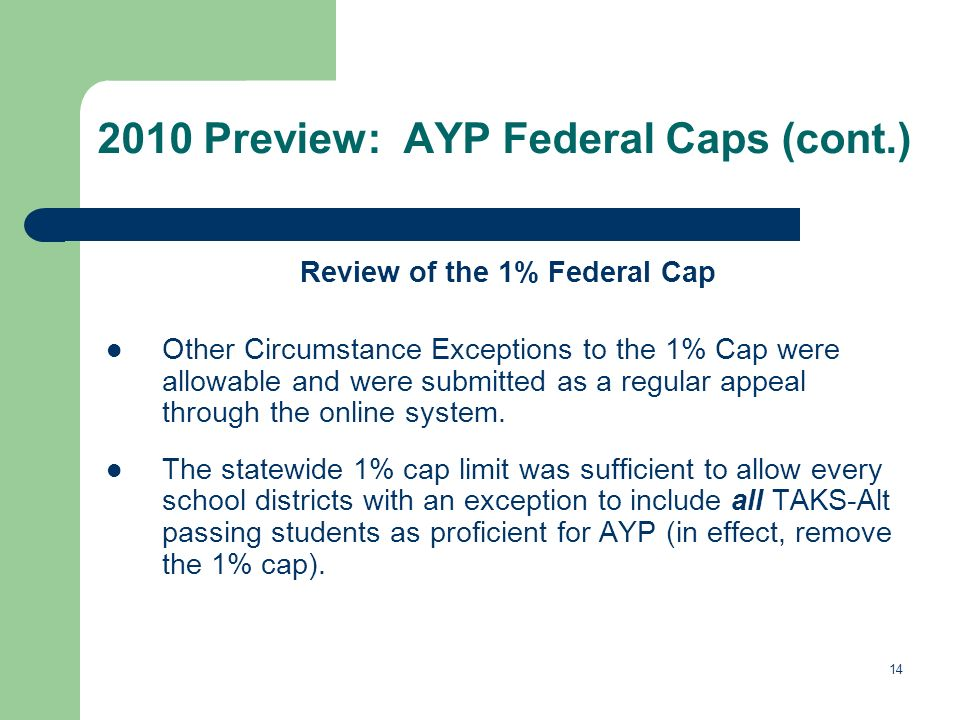 14 2010 Preview: AYP Federal Caps (cont.) Review of the 1% Federal Cap Other Circumstance Exceptions to the 1% Cap were allowable and were submitted a