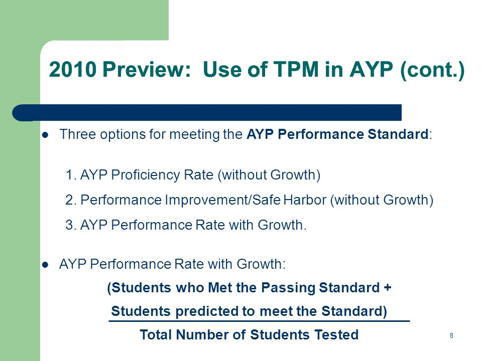 8 2010 Preview: Use of TPM in AYP Three options for meeting the AYP Performance Standard: 1.AYP Proficiency Rate (without Growth) 2.Performance Improv