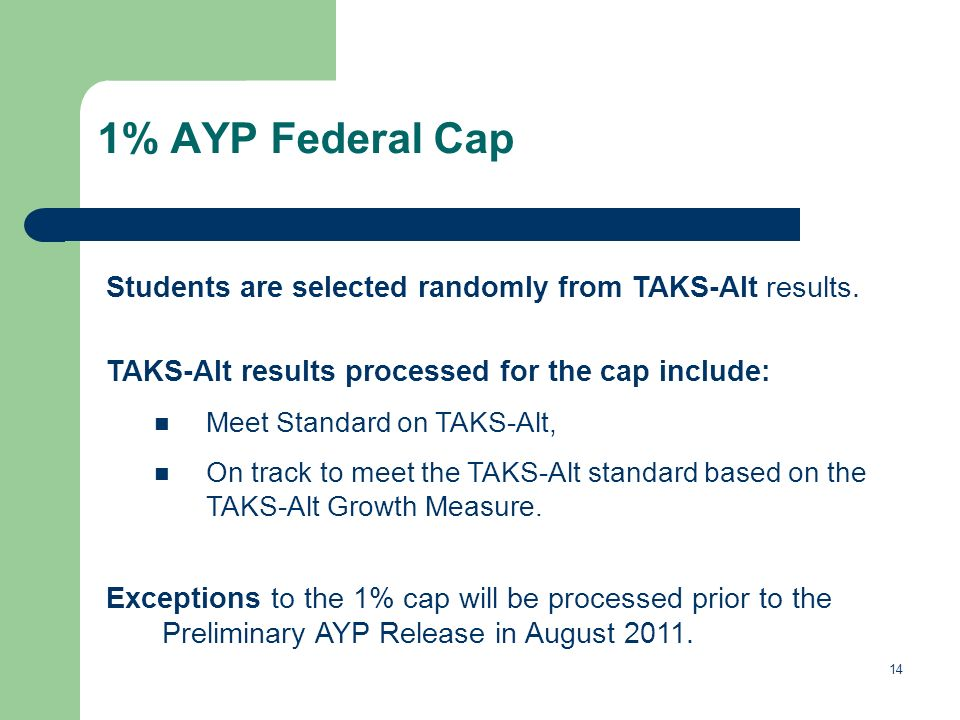 14 1% AYP Federal Cap Students are selected randomly from TAKS-Alt results.