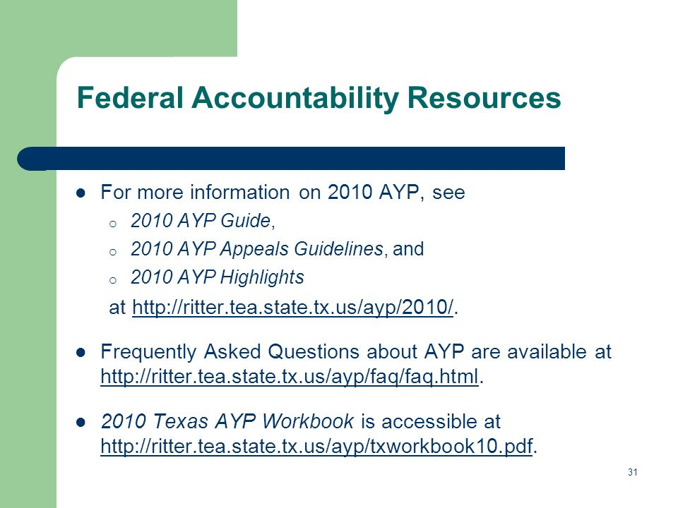 31 Federal Accountability Resources For more information on 2010 AYP, see o 2010 AYP Guide, o 2010 AYP Appeals Guidelines, and o 2010 AYP Highlights at   Frequently Asked Questions about AYP are available at