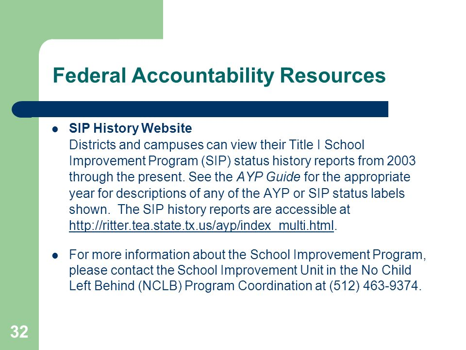 32 Federal Accountability Resources SIP History Website Districts and campuses can view their Title I School Improvement Program (SIP) status history