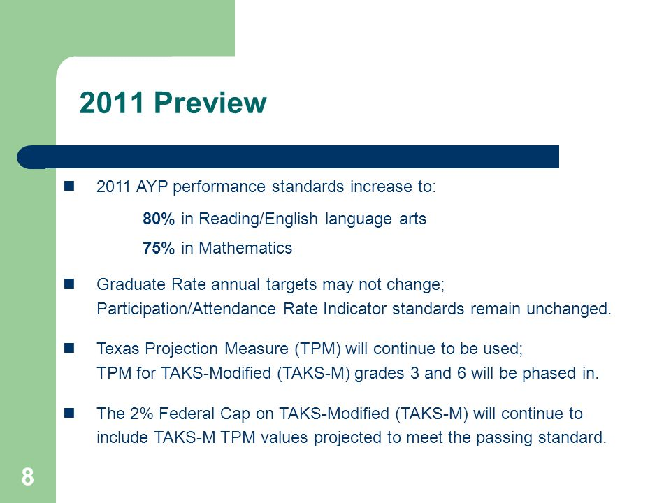 8 2011 Preview 2011 AYP performance standards increase to: 80% in Reading/English language arts 75% in Mathematics Graduate Rate annual targets may no