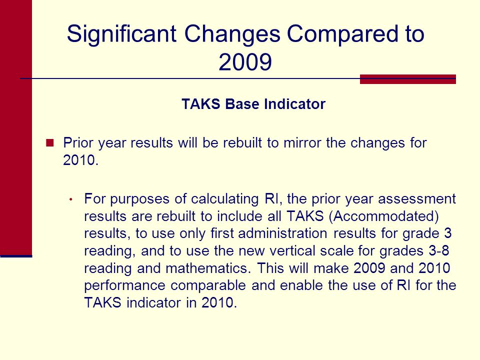 Significant Changes Compared to 2009 TAKS Base Indicator TAKS will include performance results for all TAKS (Accommodated) grades and subjects. Refuge